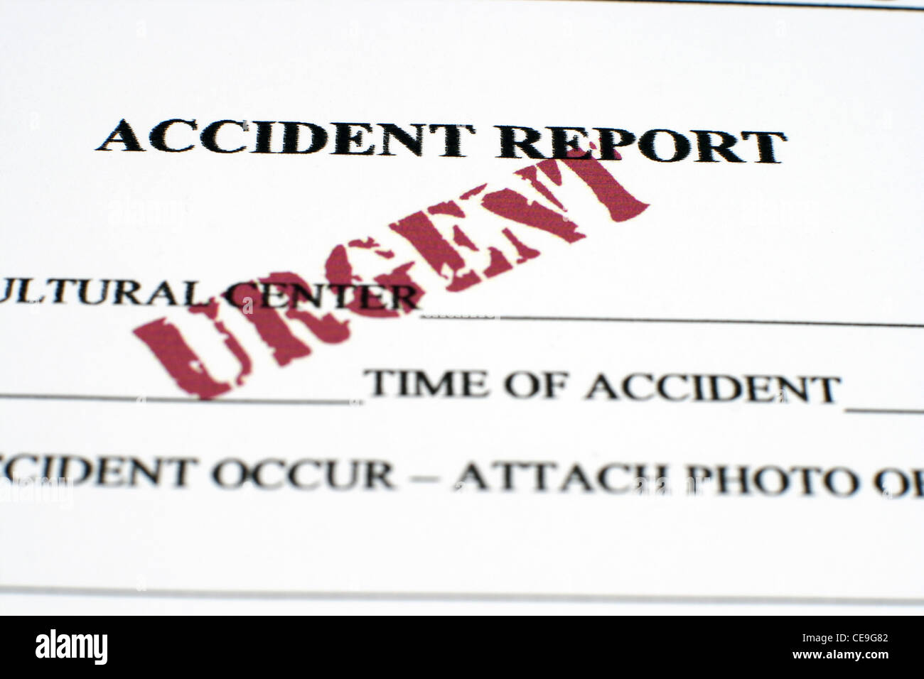 Accident report Close up - Stock Image