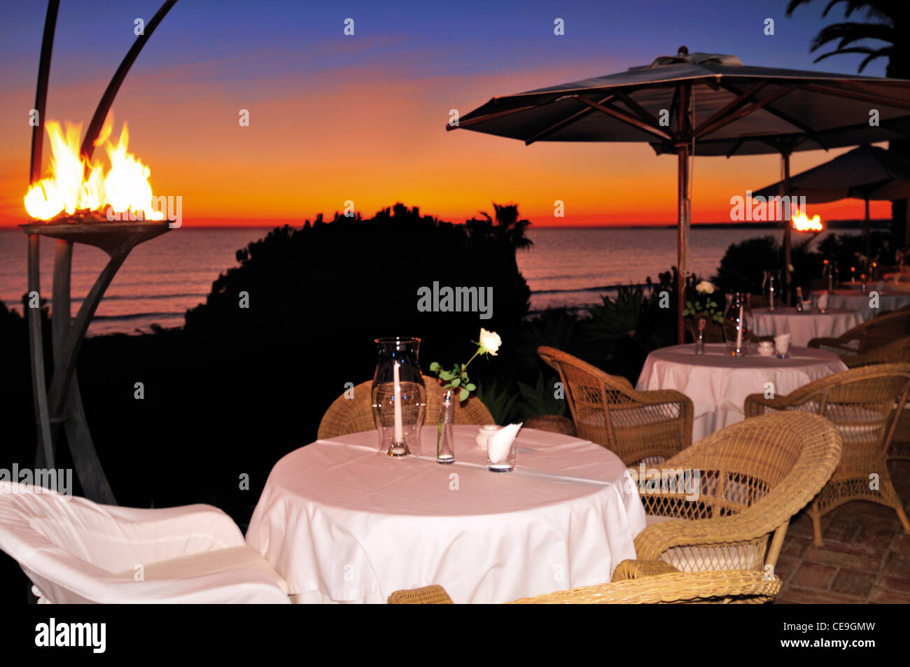 Portugal, Algarve: Sunset view from the restaurant terrace of Hotel Vila  Galé during the Gourmet Festival - Stock Image
