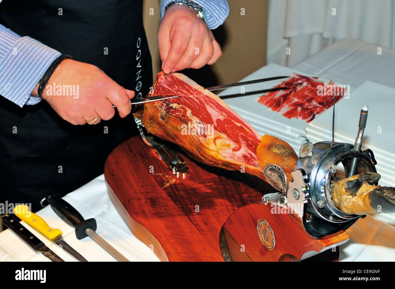 Portugal, Algarve: Spanish Maldonado ham as specialty during the Gourmet Festival 2012 in the Resort Vila Joya in - Stock Image