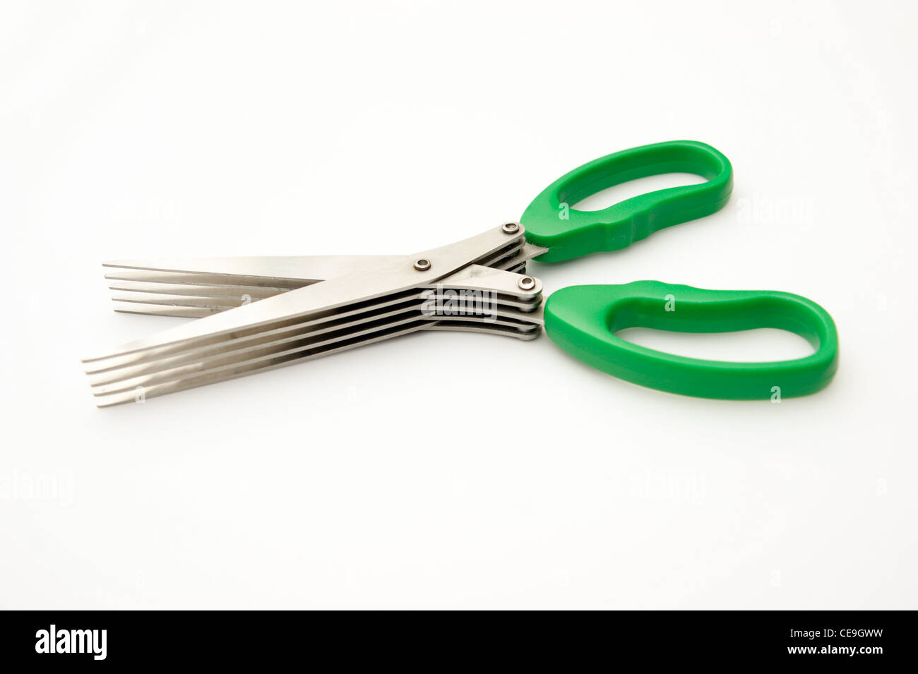 5 blade shredder scissors for shredding personal information / documents to stop fraud & identity theft - Stock Image
