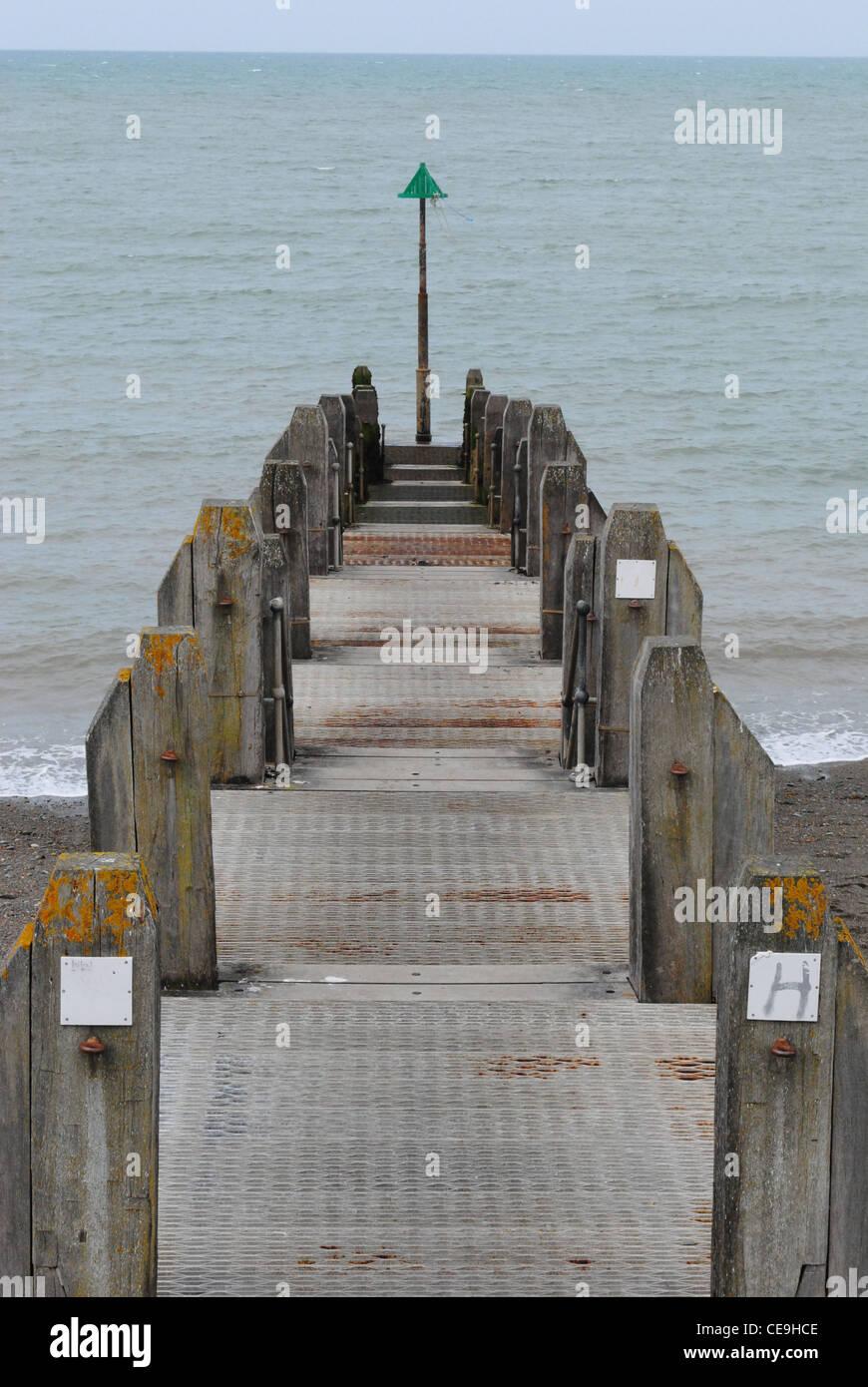 Jetty in Aberystwyth, Cardigan Bay, Wales, UK - Stock Image