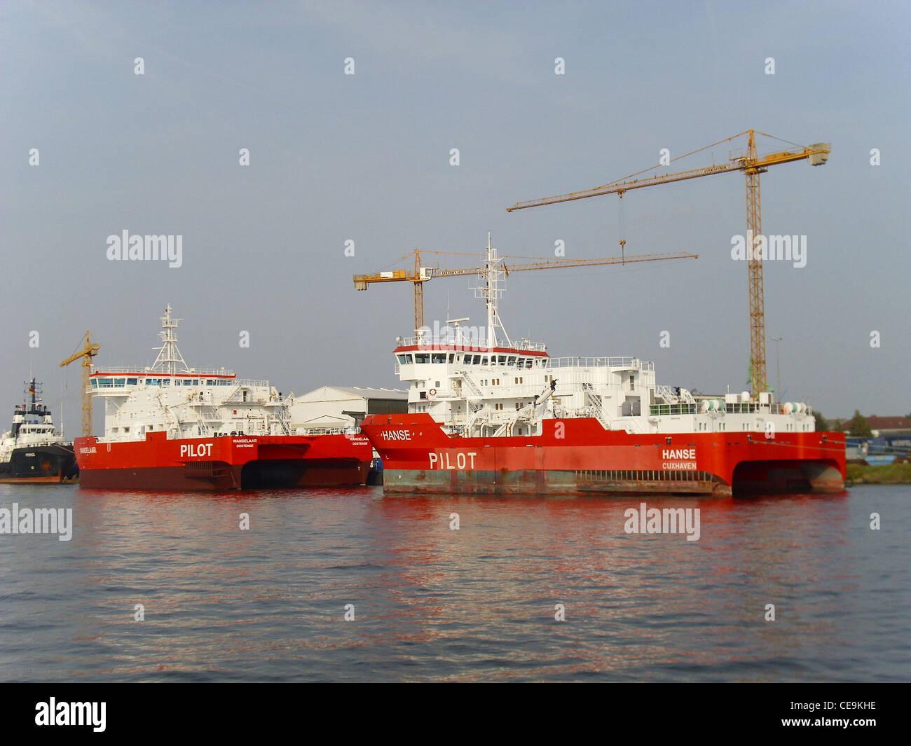 pilot vessels Hanse and Wandelaar - Stock Image