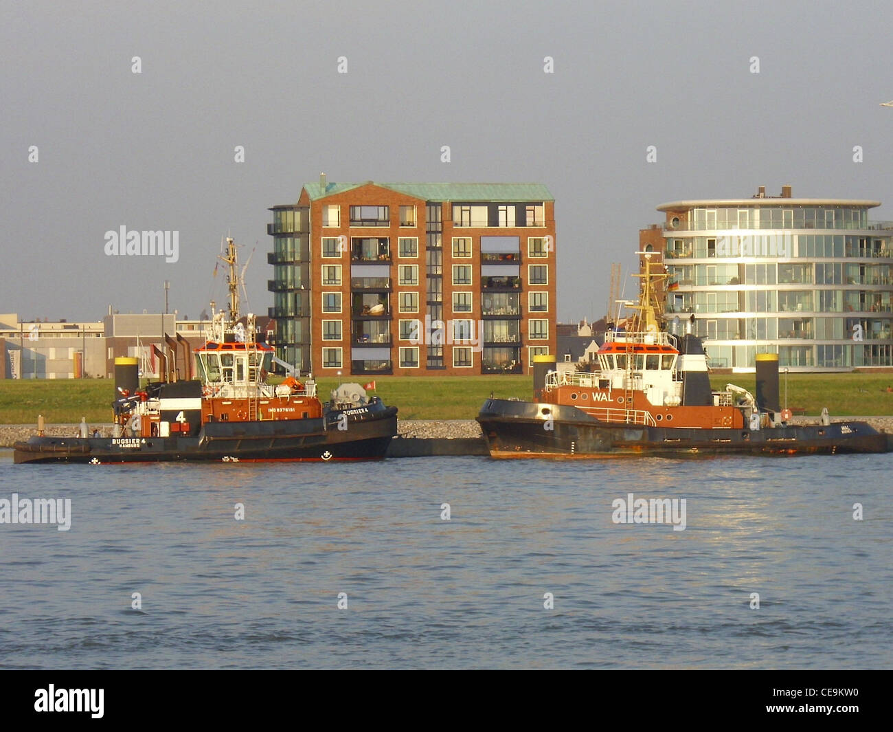 tugboats Bugsier 4 and Wal in Bremerhaven, Germany - Stock Image