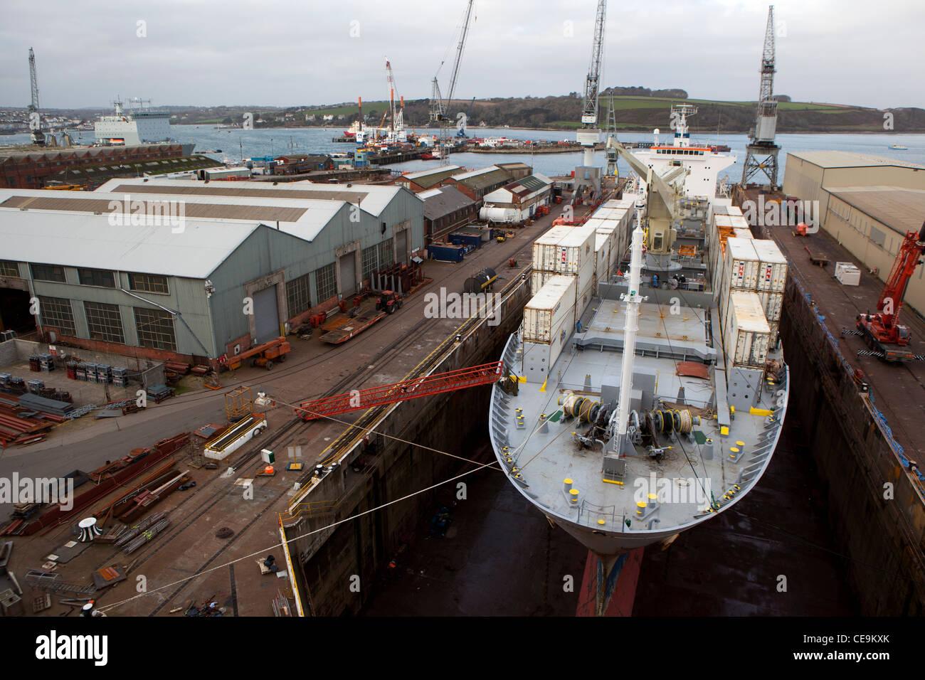 A ship in Falmouth docks, dry dock. Stock Photo