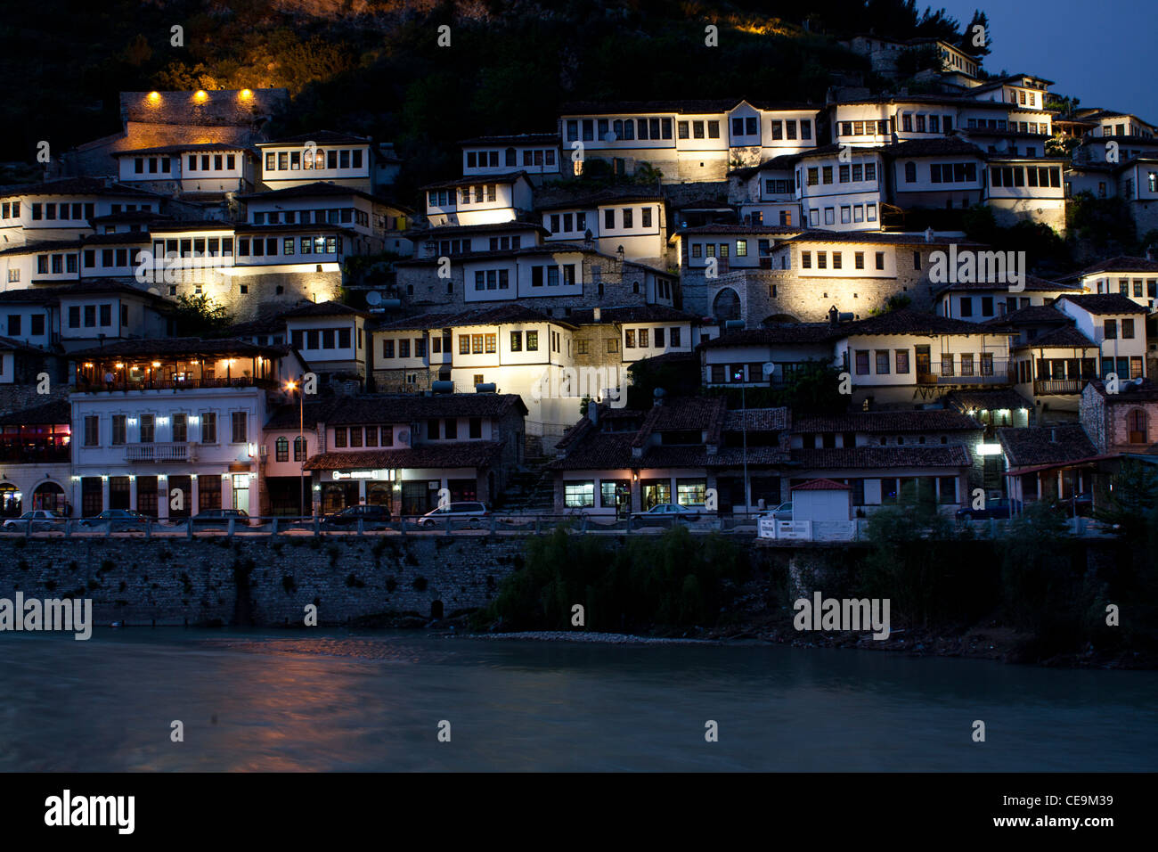 The city of Berat, Albania by night - Stock Image