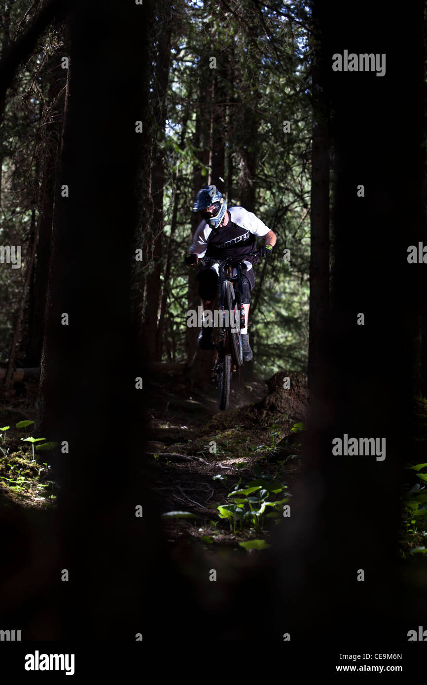 Mountainbiker riding downhill in the forest trails of Lauterbrunnen, Switzerland - Stock Image