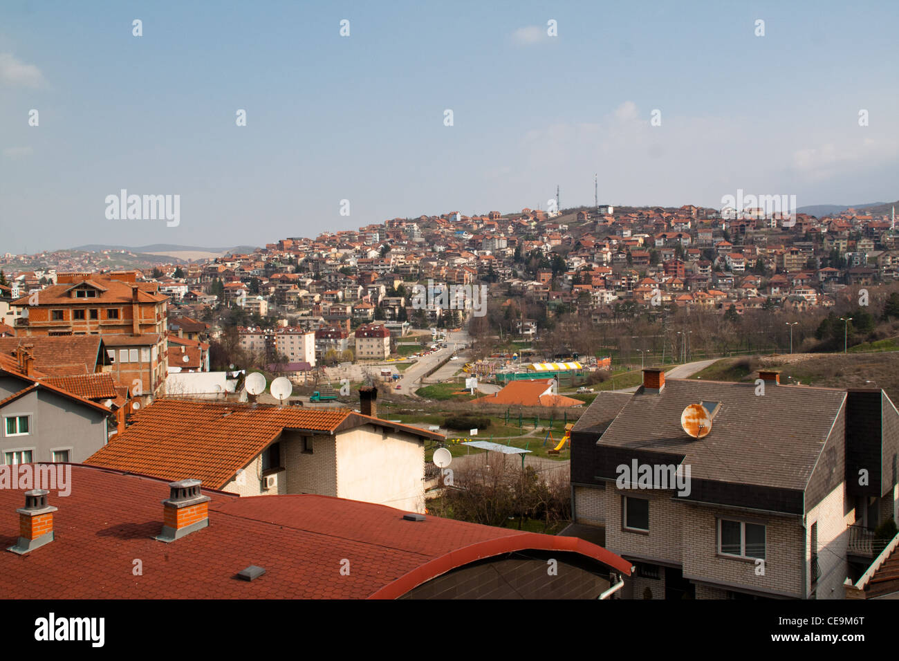 View over the city of Pristina in Kosovo - Stock Image