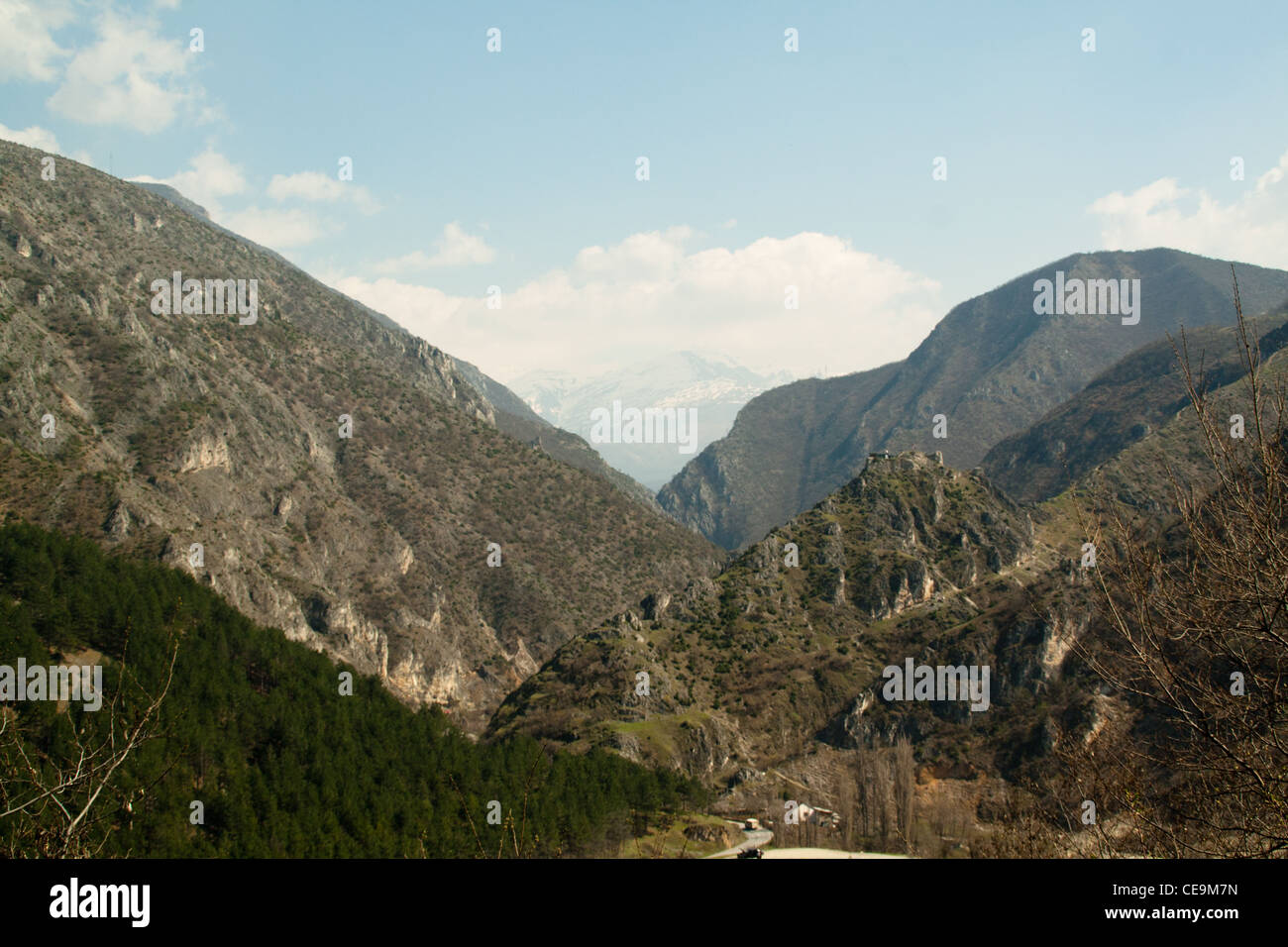 Landscape throught the mountains in Prizren, Kosovo - Stock Image