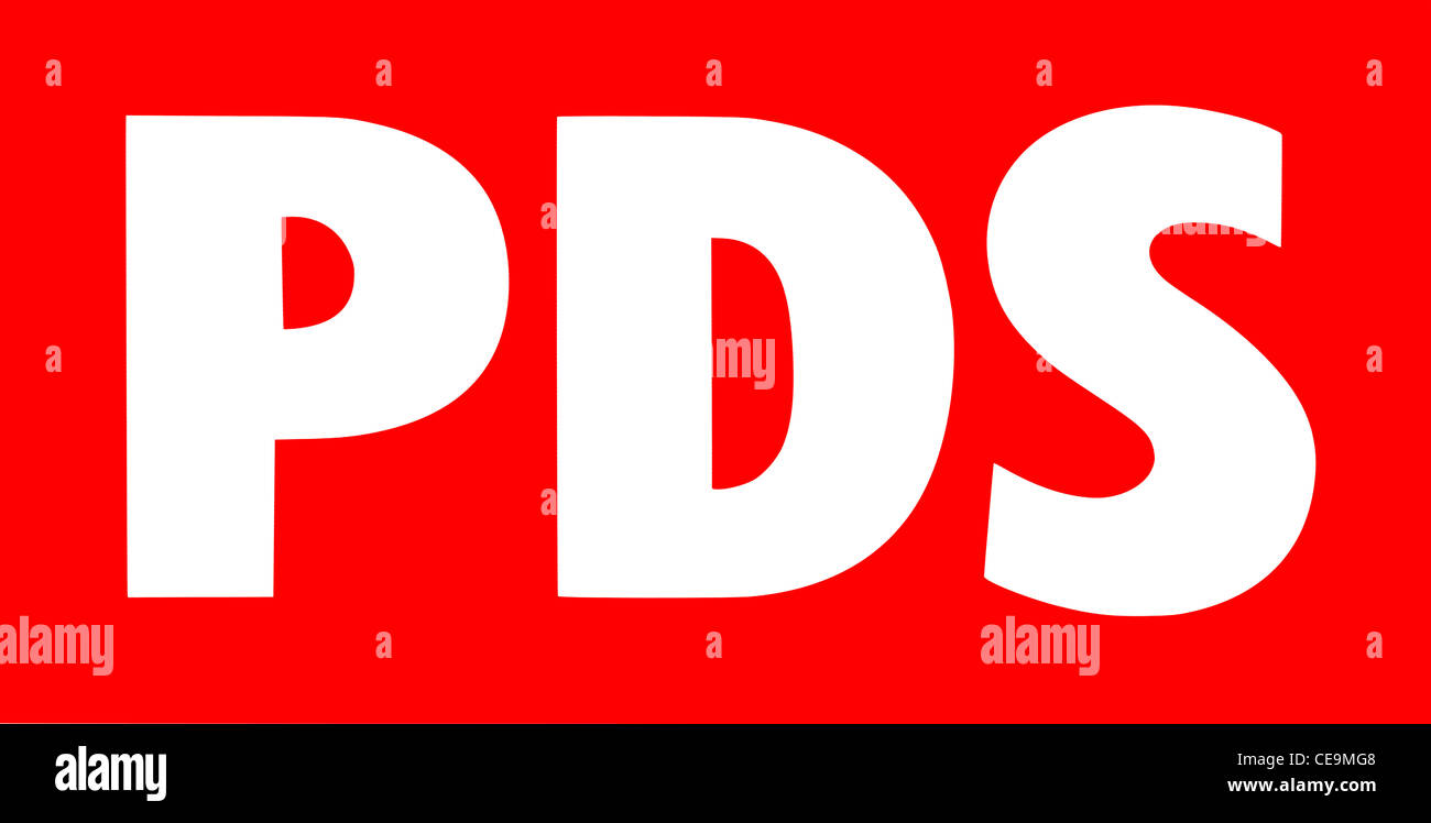 Logo of the German political party PDS. - Stock Image