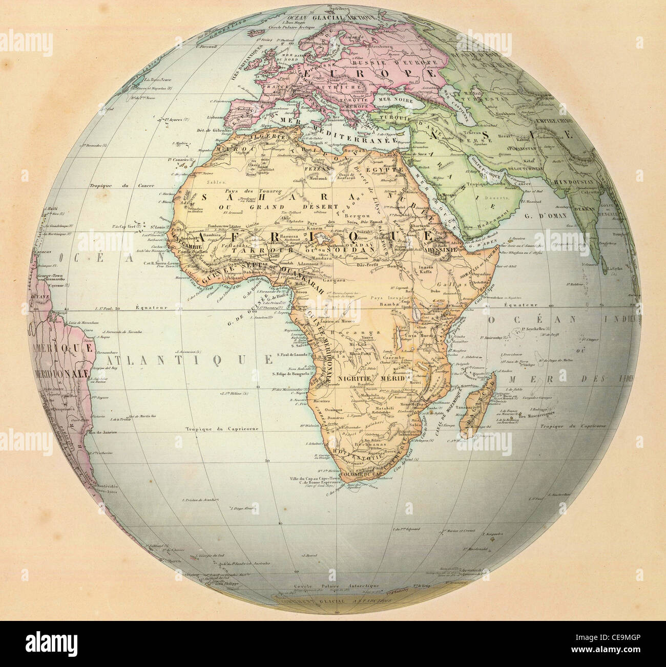 Antique map of Africa on the globe. From Atlas by F. A. Garnier, 1862. - Stock Image