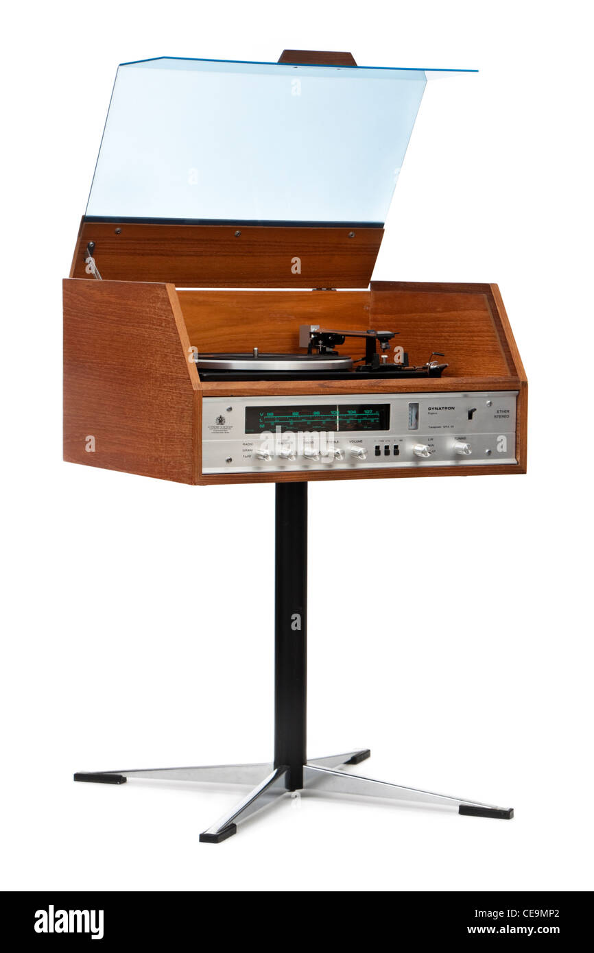 Vintage 1970's Dynatron Transpower SRX25 stereogram with Garrard SP-25 Mk III record player - Stock Image