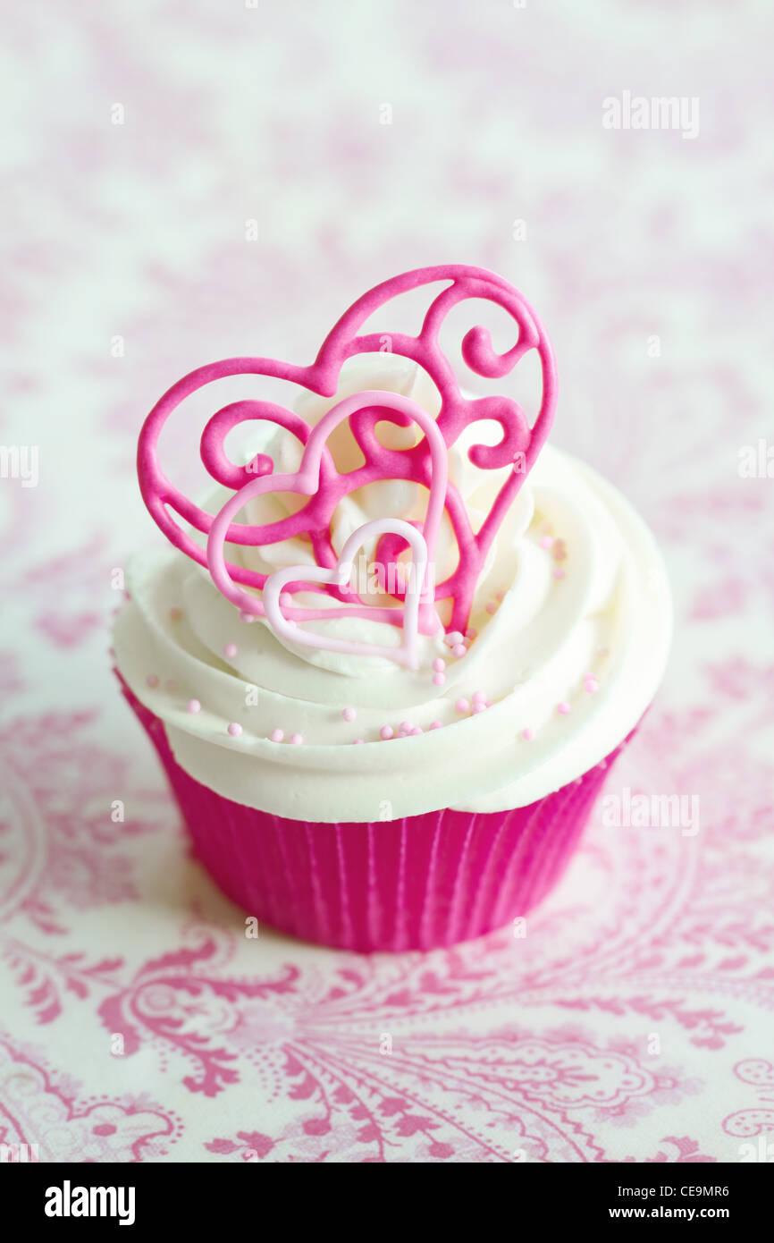 Valentine cupcake - Stock Image