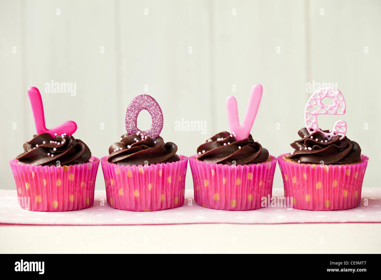Valentine cupcakes - Stock Image