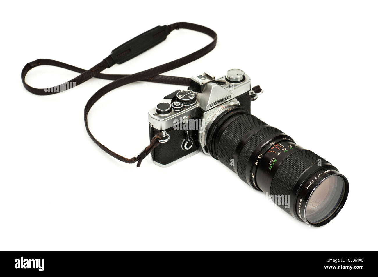 Vintage 35mm Olympus OM-2 SLR film camera with Vivitar zoom
