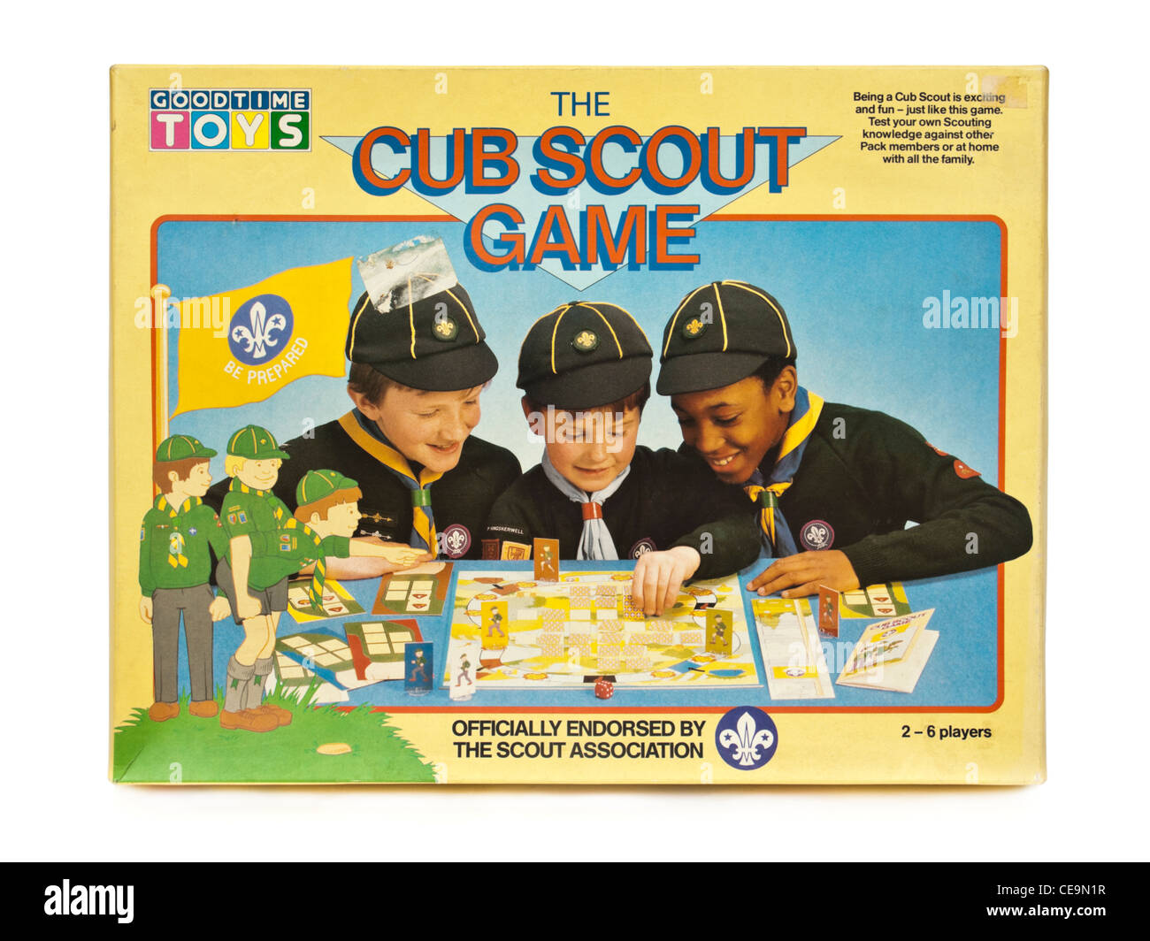 Vintage 'The Cub Scout Game' board game by Goodtime Toys (1986), officially endorsed by the Scout Association. - Stock Image