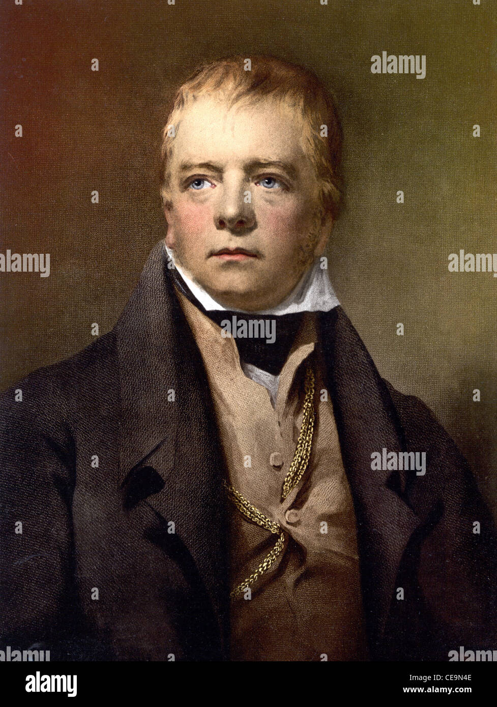 Sir Walter Scott, 1st Baronet, a Scottish historical novelist, playwright, and poet. - Stock Image