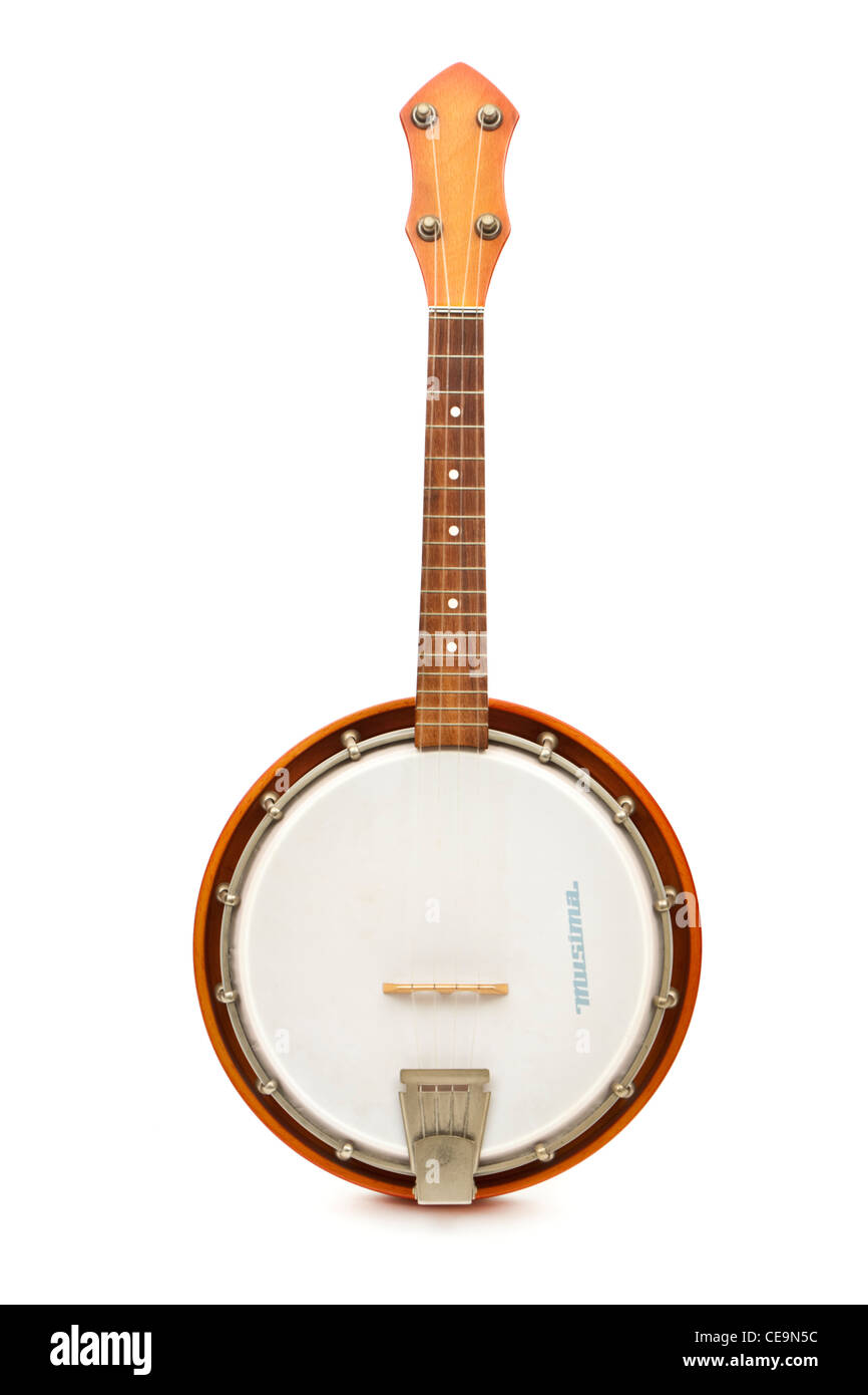 Vintage banjo-ukelele by Musima (MUSIkinstrumentenbau MArkneukirchen) in the DDR (East Germany) - Stock Image
