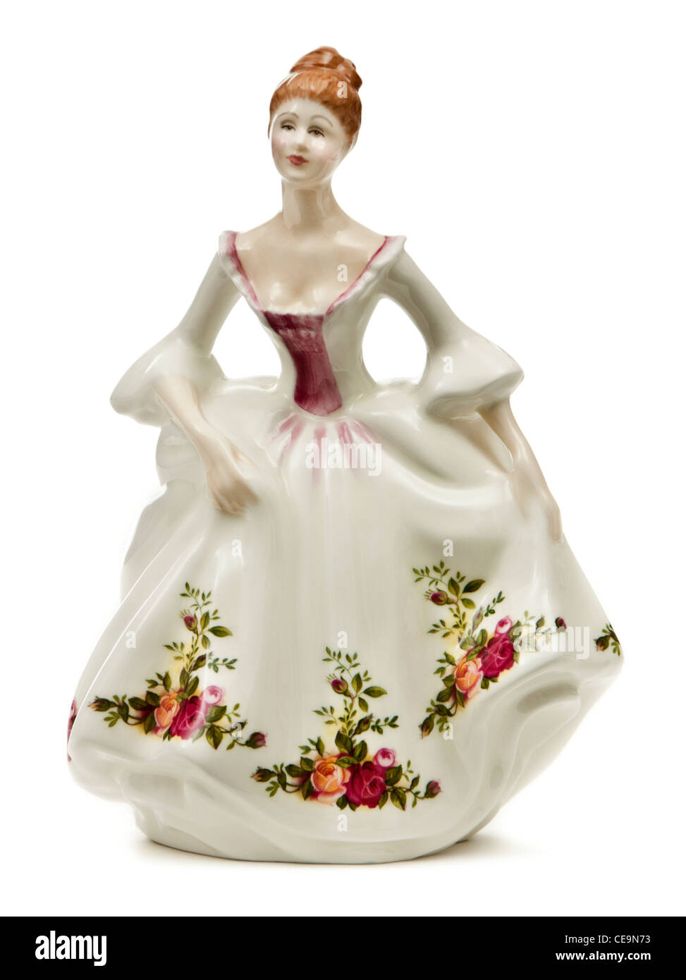 Royal Doulton 'Country Rose' (HN3221) porcelain figure from 1988. Modelled by Peggy Davies. Made in England. - Stock Image
