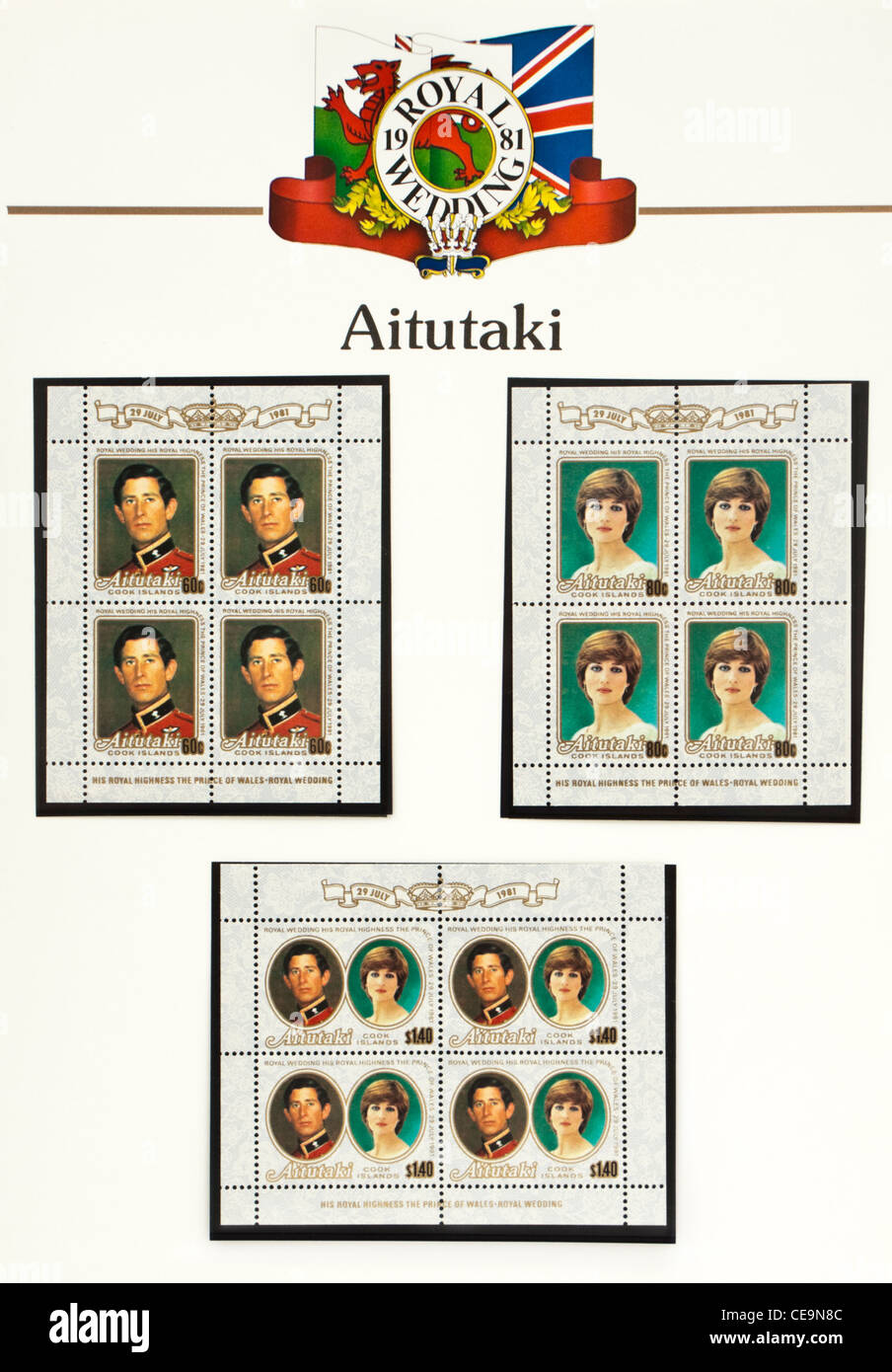 Aitutaki (Cook Islands) page of 'The Royal Wedding' stamp album by Stanley Gibbons (1981) - Stock Image