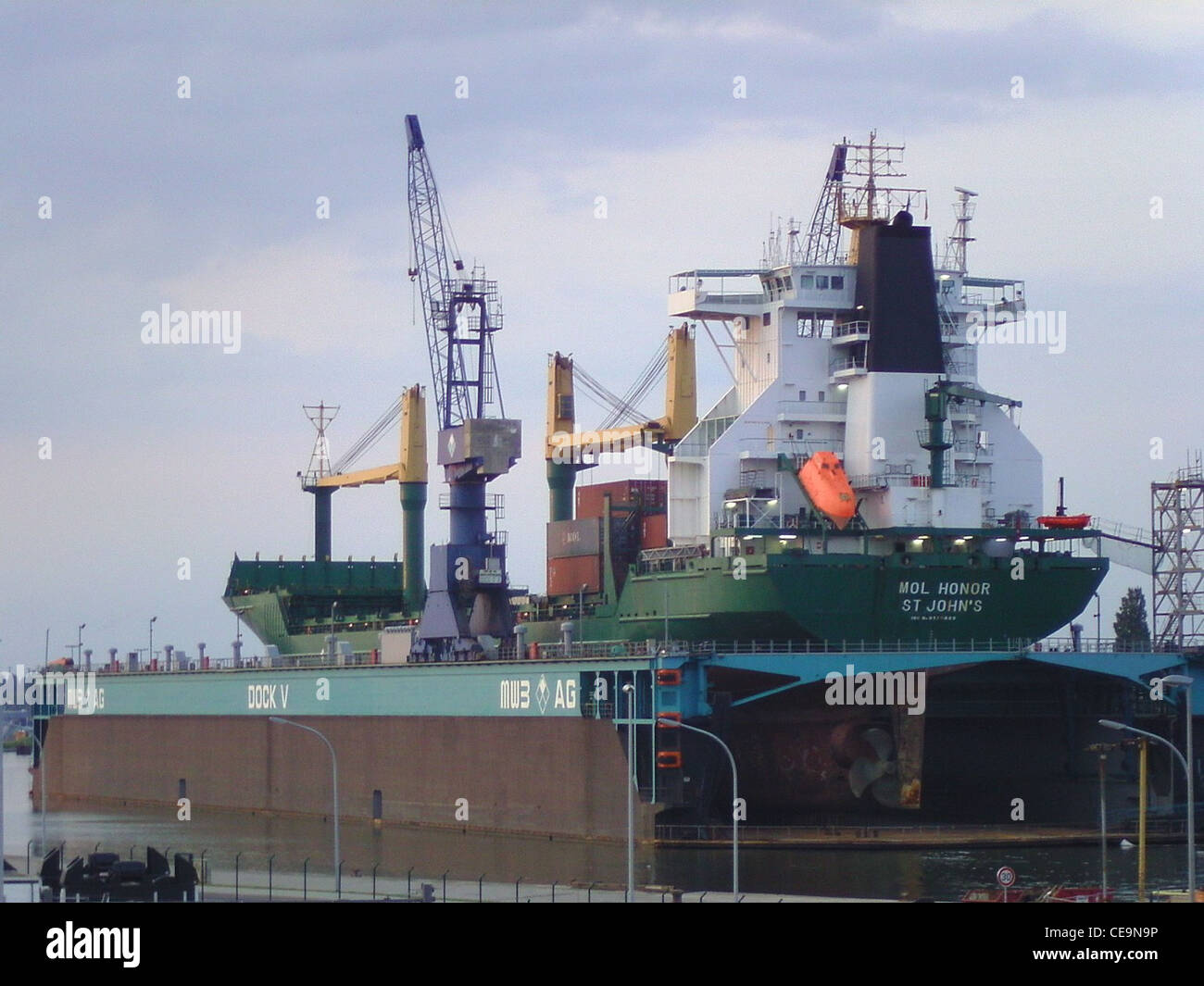container ship MOL Honor in a floating drydock of MWB in Bremerhaven - Stock Image