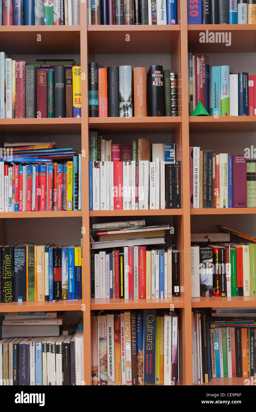 Books in the shelves of a home library - Stock Image