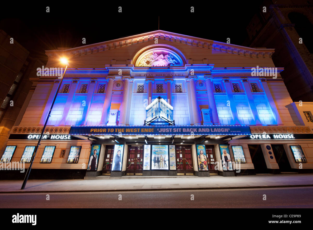 The Opera House theatre on Quay Street in Manchester, taken on a dark night. - Stock Image