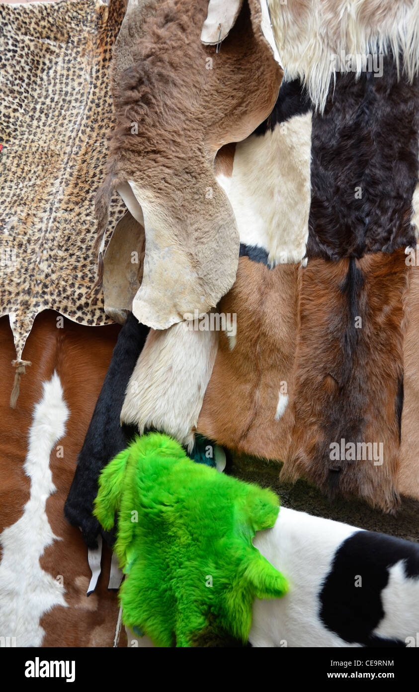 skin rugs for sale, Marrakech - Stock Image