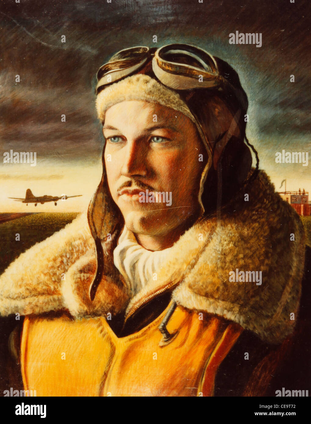 Portrait of US Army Airforce navigator in England during 1942 painting WWII - Stock Image