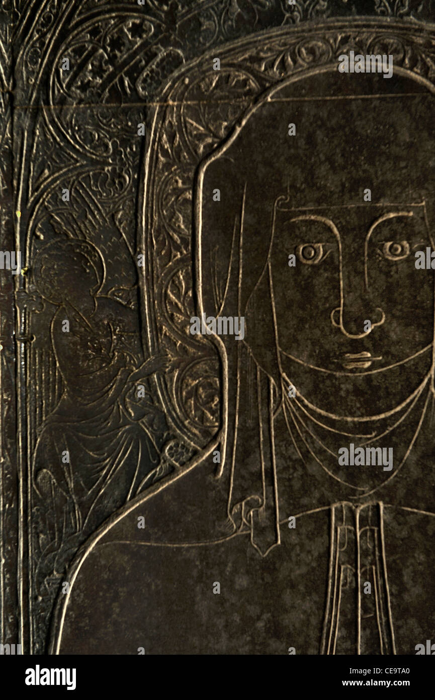 Detail. 1364 memorial brass known as the Braunche Brass. St. Margarets Church, Kings Lynn, England. Wife of Robert - Stock Image