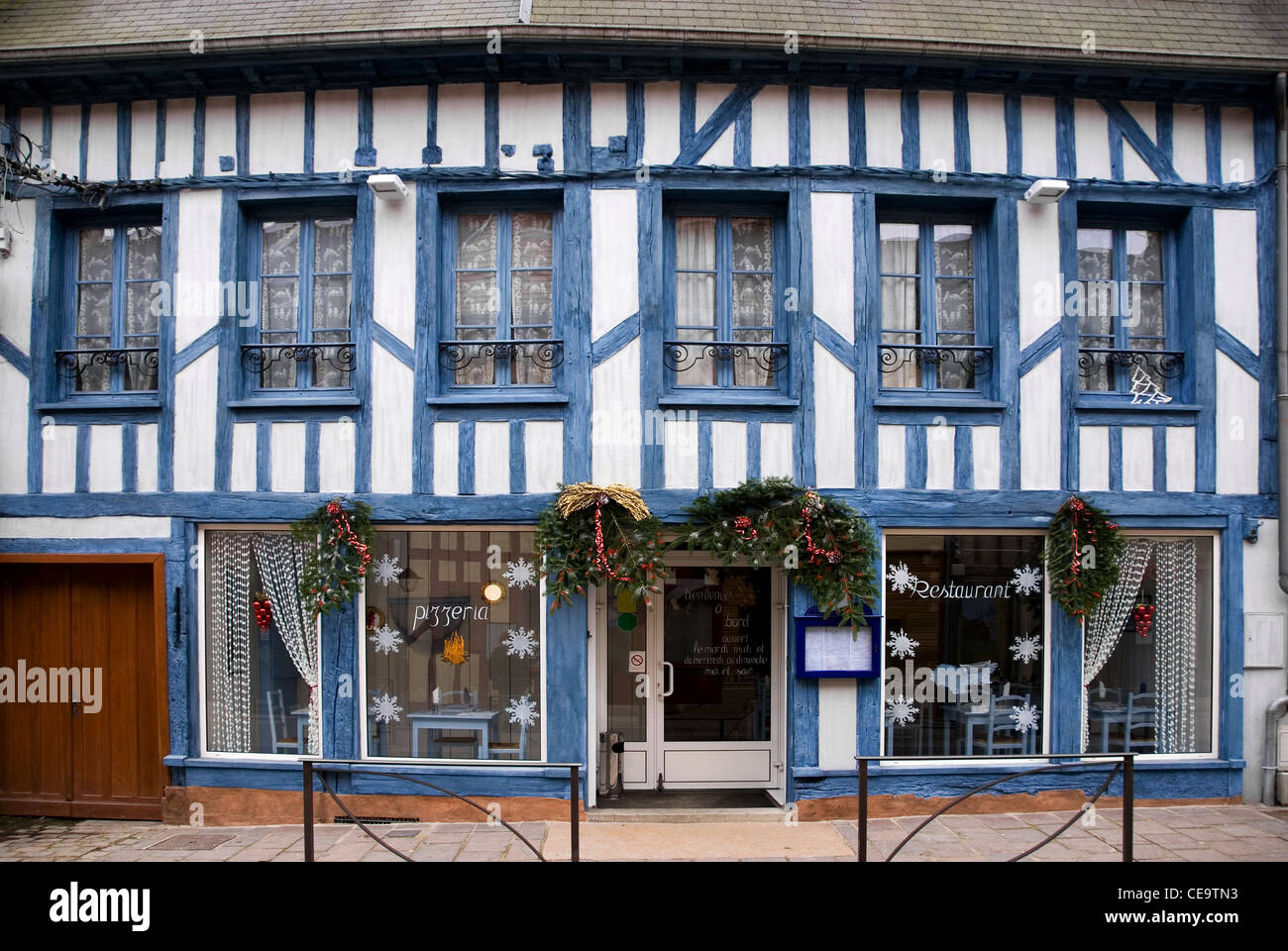 The Facade Of A Small Italian Restaurant In A Small French Village Stock Photo Alamy