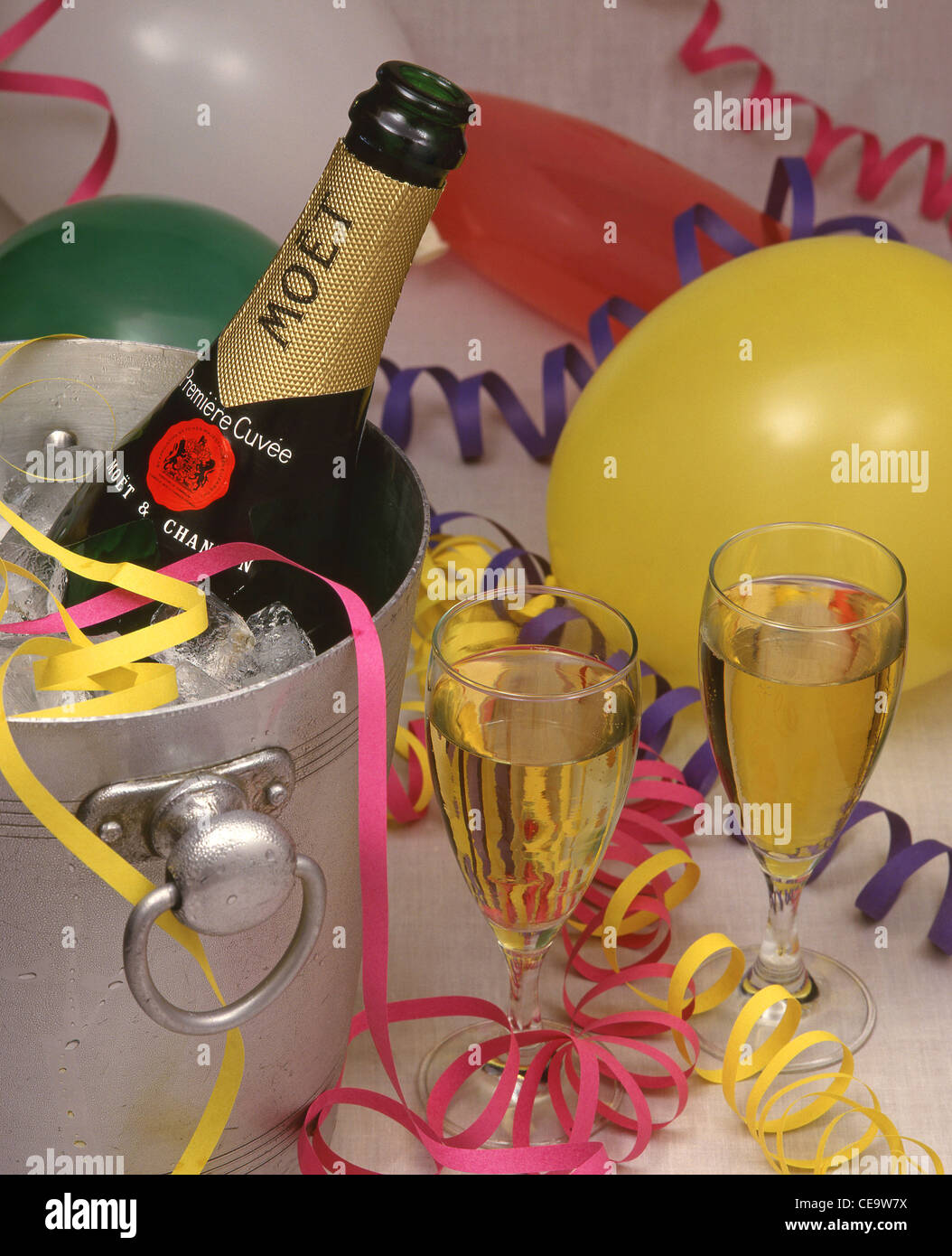 Moët champagne in bucket with streamers and balloons, London, England, United Kingdom - Stock Image