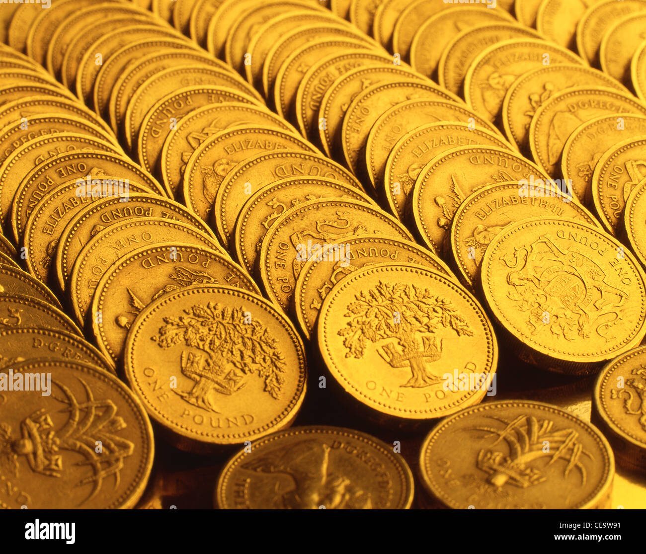 Rows of British pound coins, London, England, United Kingdom - Stock Image