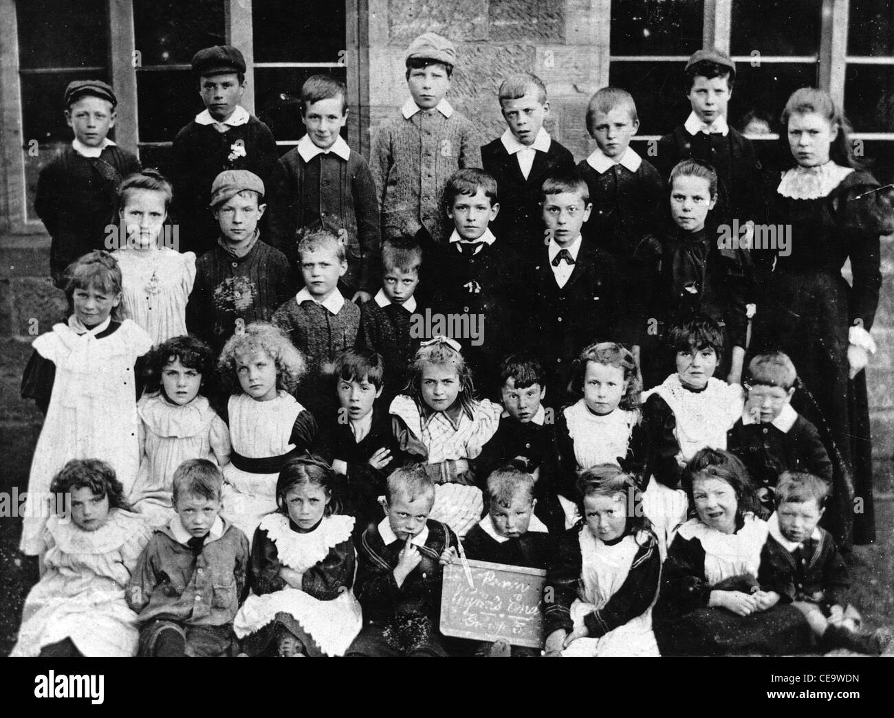 Children at Wynn's School, Penn, near Wolverhampton, c 1899. Historic photograph of a group sitting outside their Stock Photo
