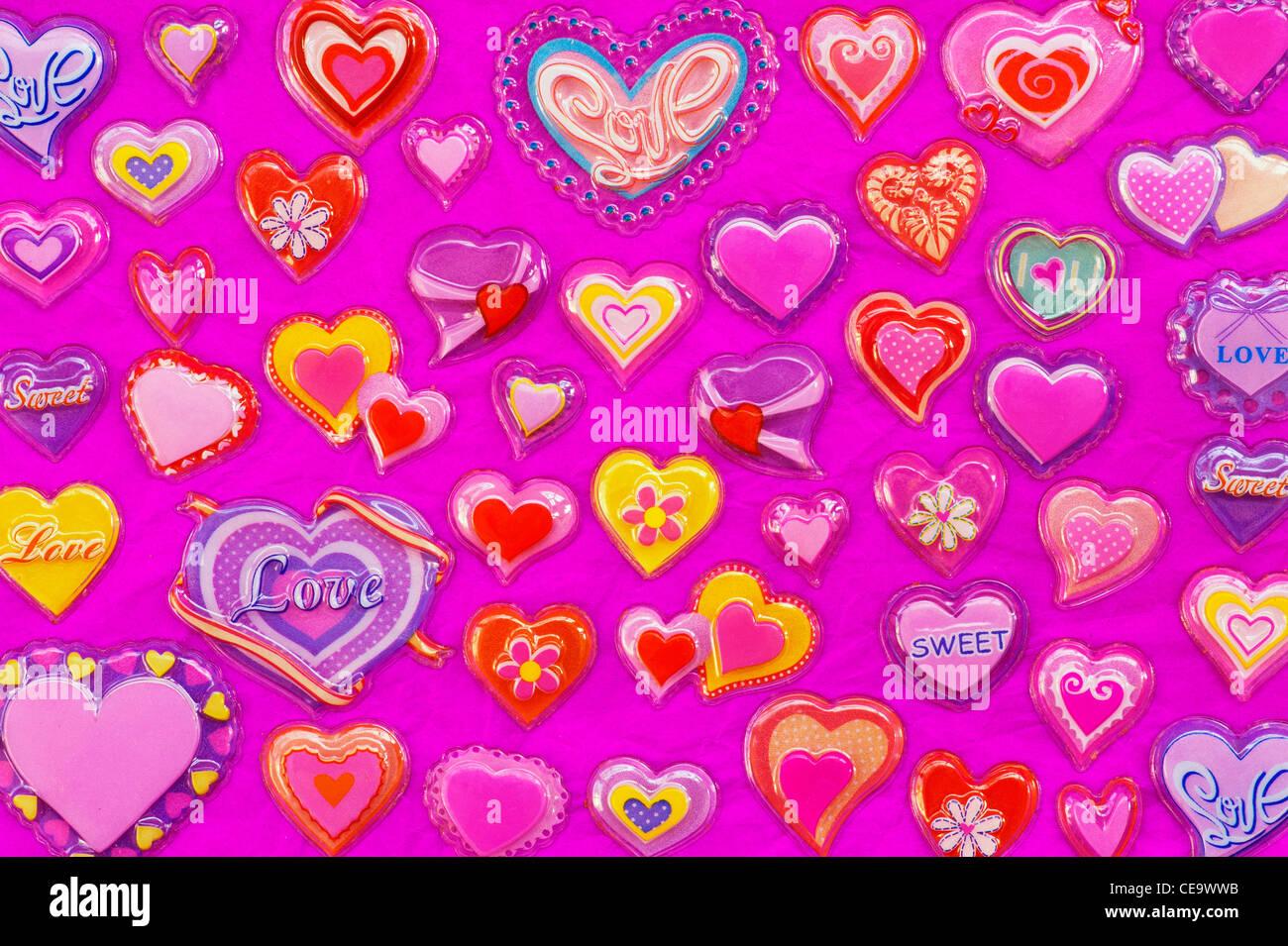 Plastic Love Hearts - Stock Image