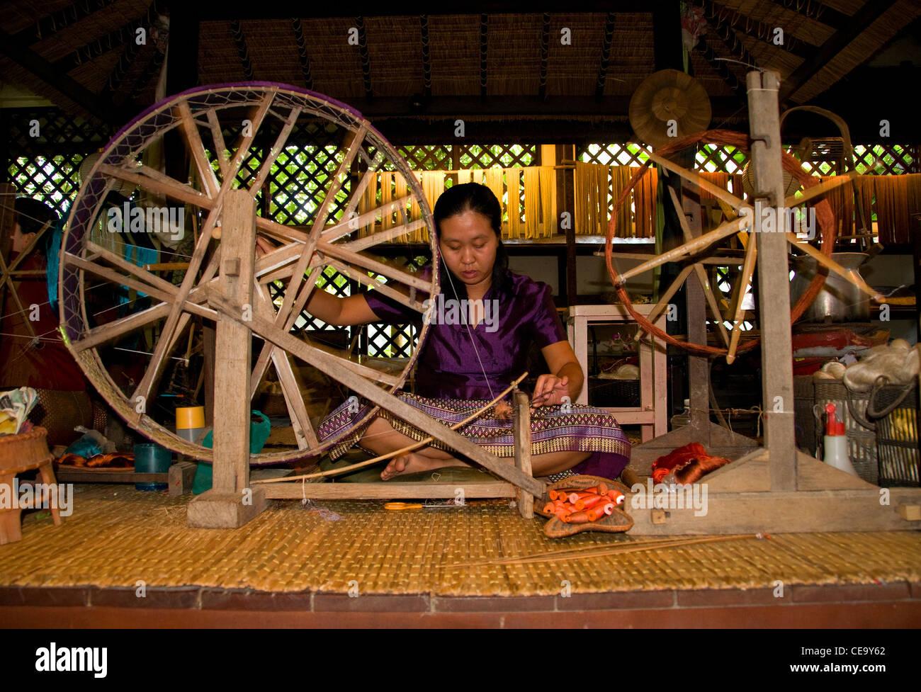 Thai silk production factory, Chiang Mai, Thailand. - Stock Image