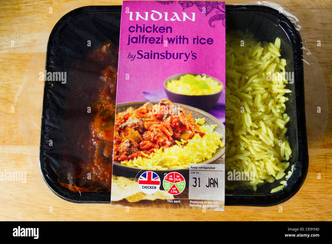 Chicken jalfrezi indian curry with rice microwave ready meal stock chicken jalfrezi indian curry with rice microwave ready meal england uk forumfinder Choice Image