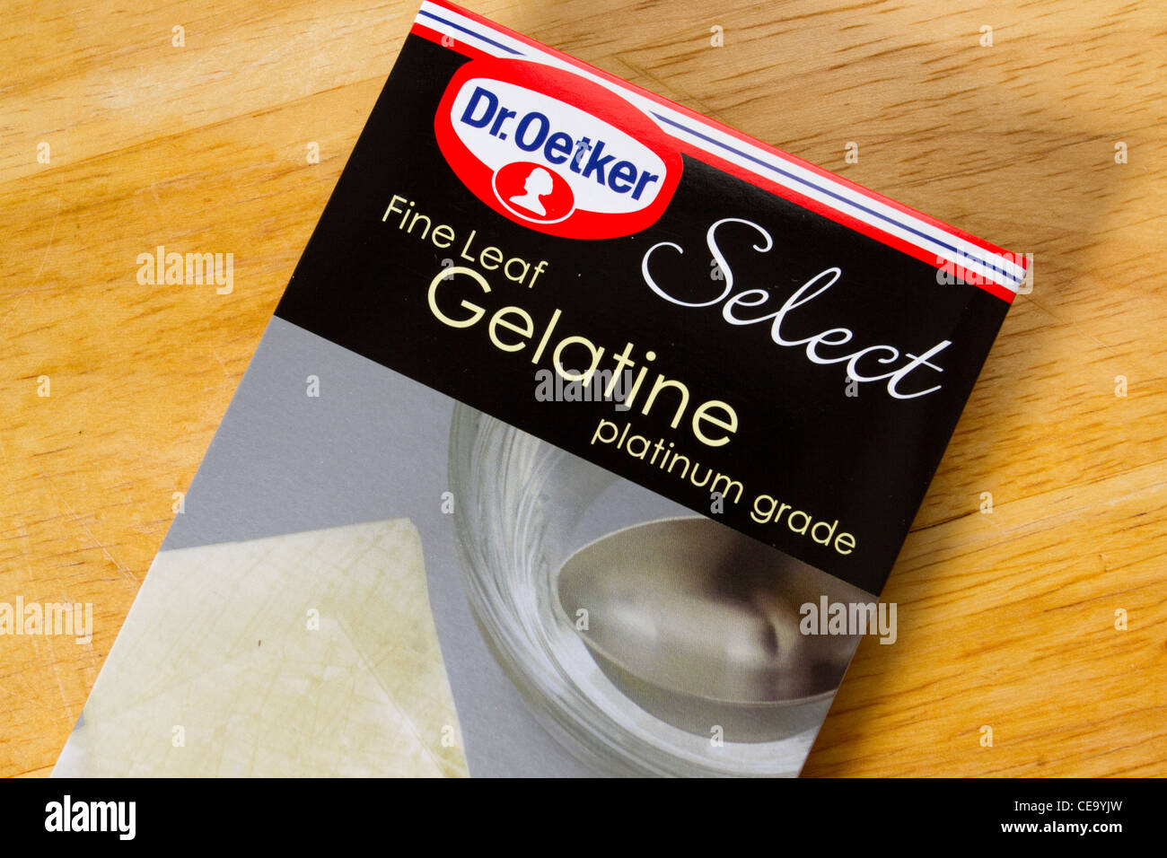 Packet of Dr Oetker Fine Leaf Gelatine, England, UK - Stock Image