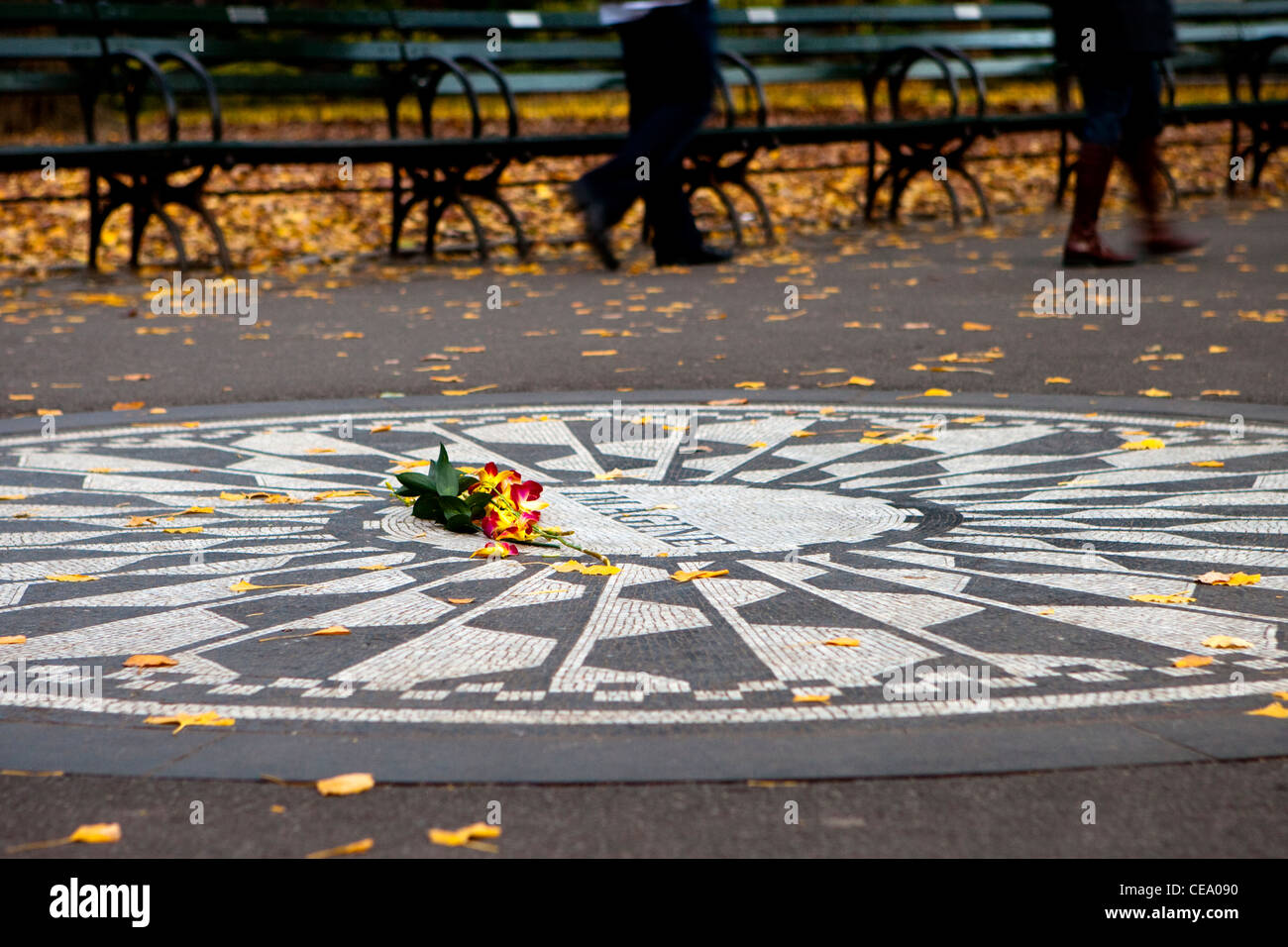 John Lennon Memorial 'Strawberry Fields', Central Park, New York, USA - Stock Image