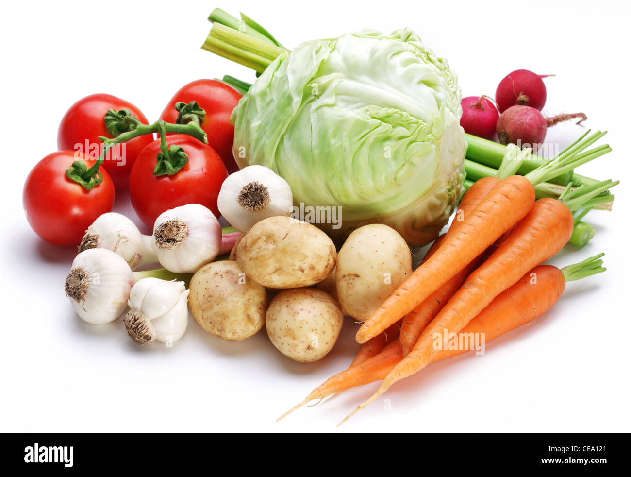 vegetables on white background - Stock Image