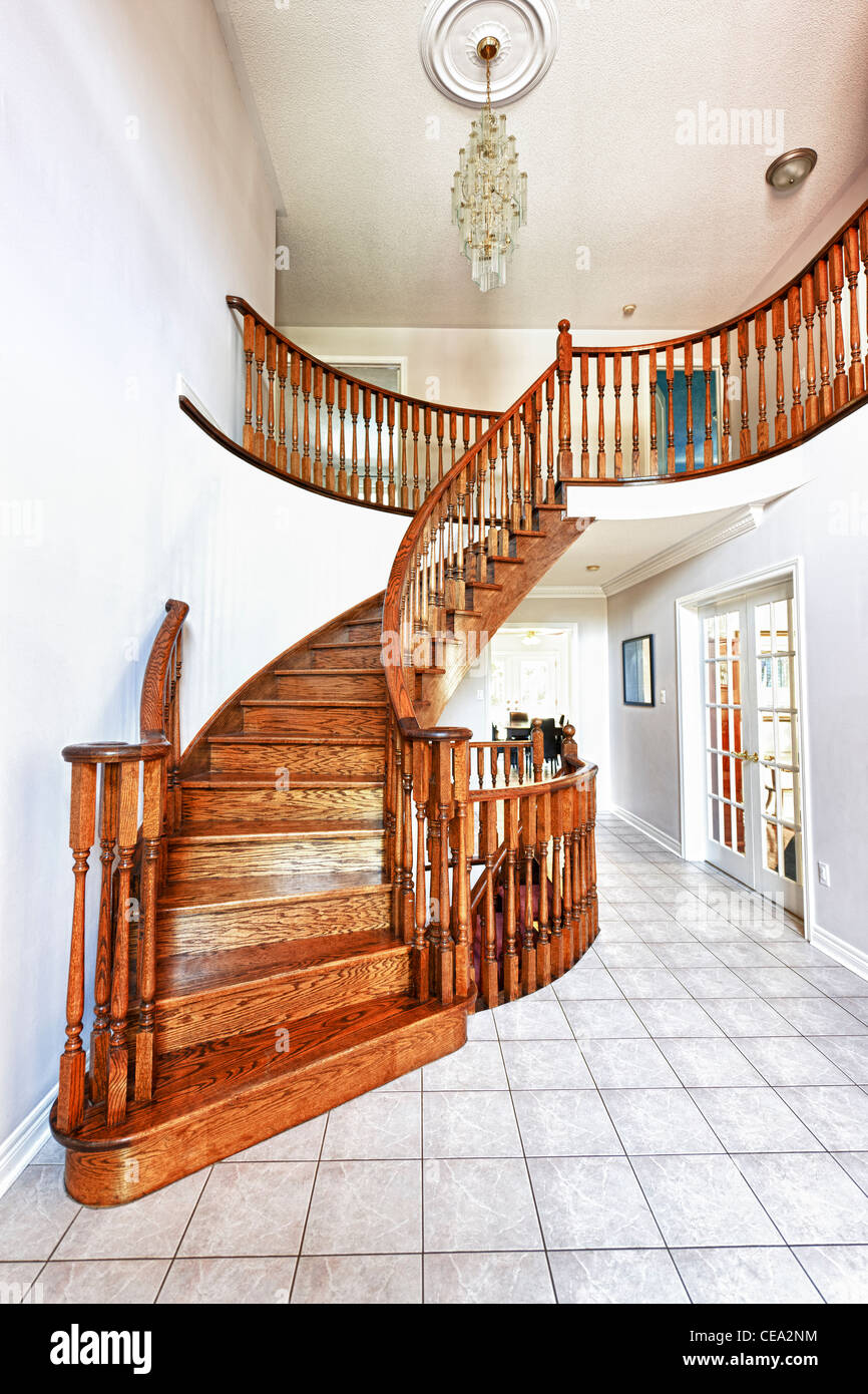 Curved oak staircase in luxury home entrance hall - Stock Image