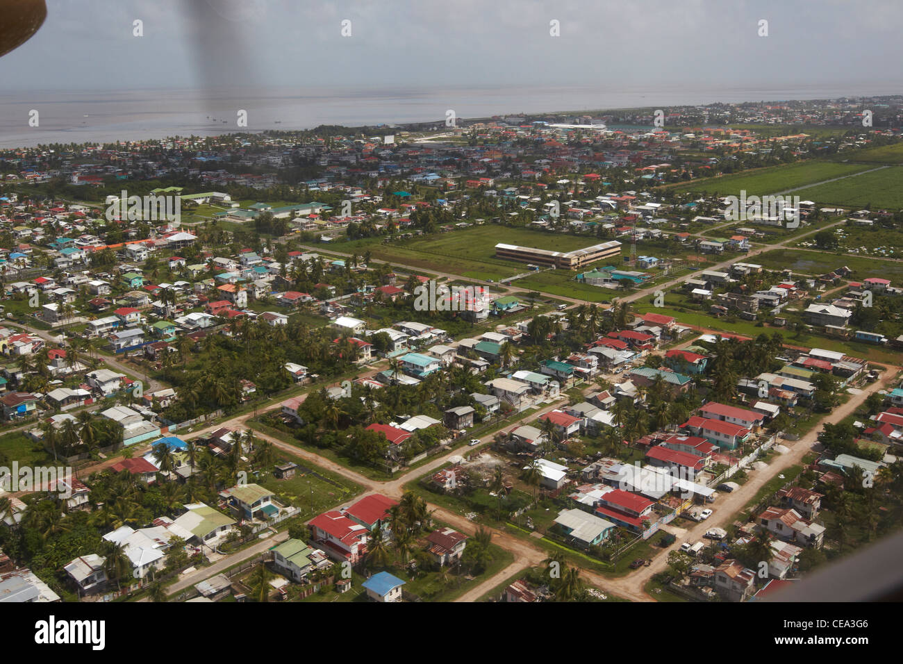 Aerial view of Georgetown, Guyana, South America, showing the urban sprawl and housing development. - Stock Image