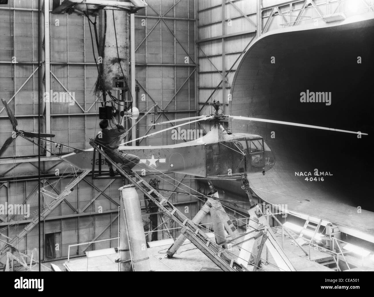 Sikorsky Helicopter In this image taken in 1944, one of Langley Research Center's Sikorsky YR-4B/HNS-1 helicopters - Stock Image