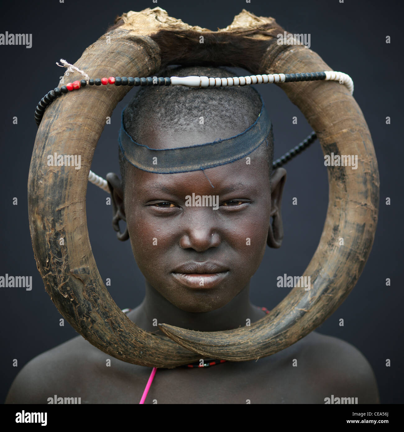 Mursi Woman With Buffalo Horns Headdress Omo Valley Ethiopia - Stock Image