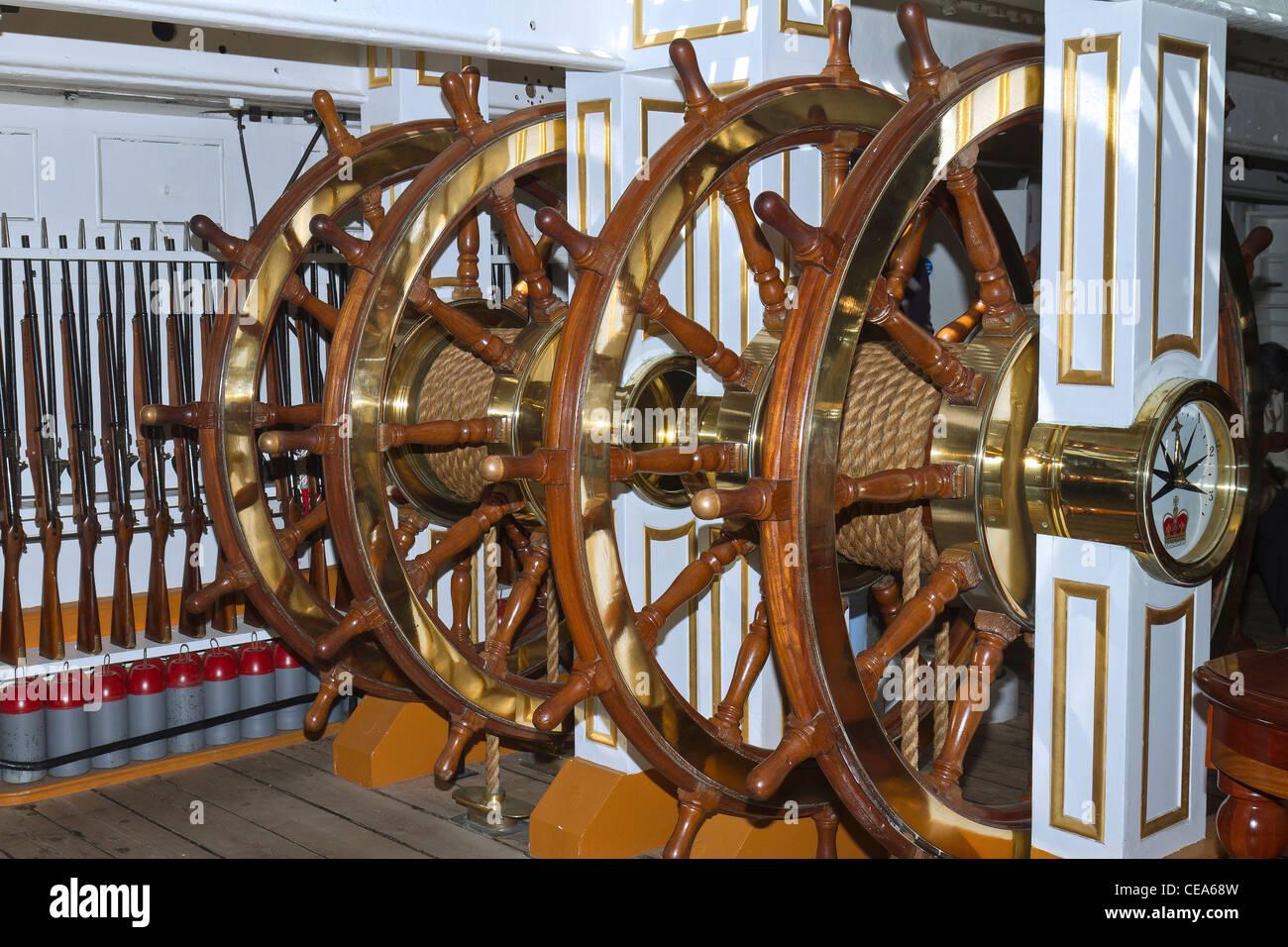 UK Hampshire Sailing Ships Steering Gear - Stock Image