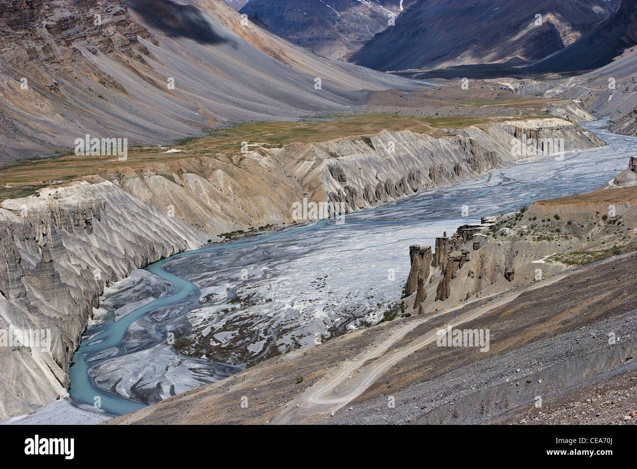 A deep canyon of the Spiti river in the state of Himachal Pradesh, India - Stock Image