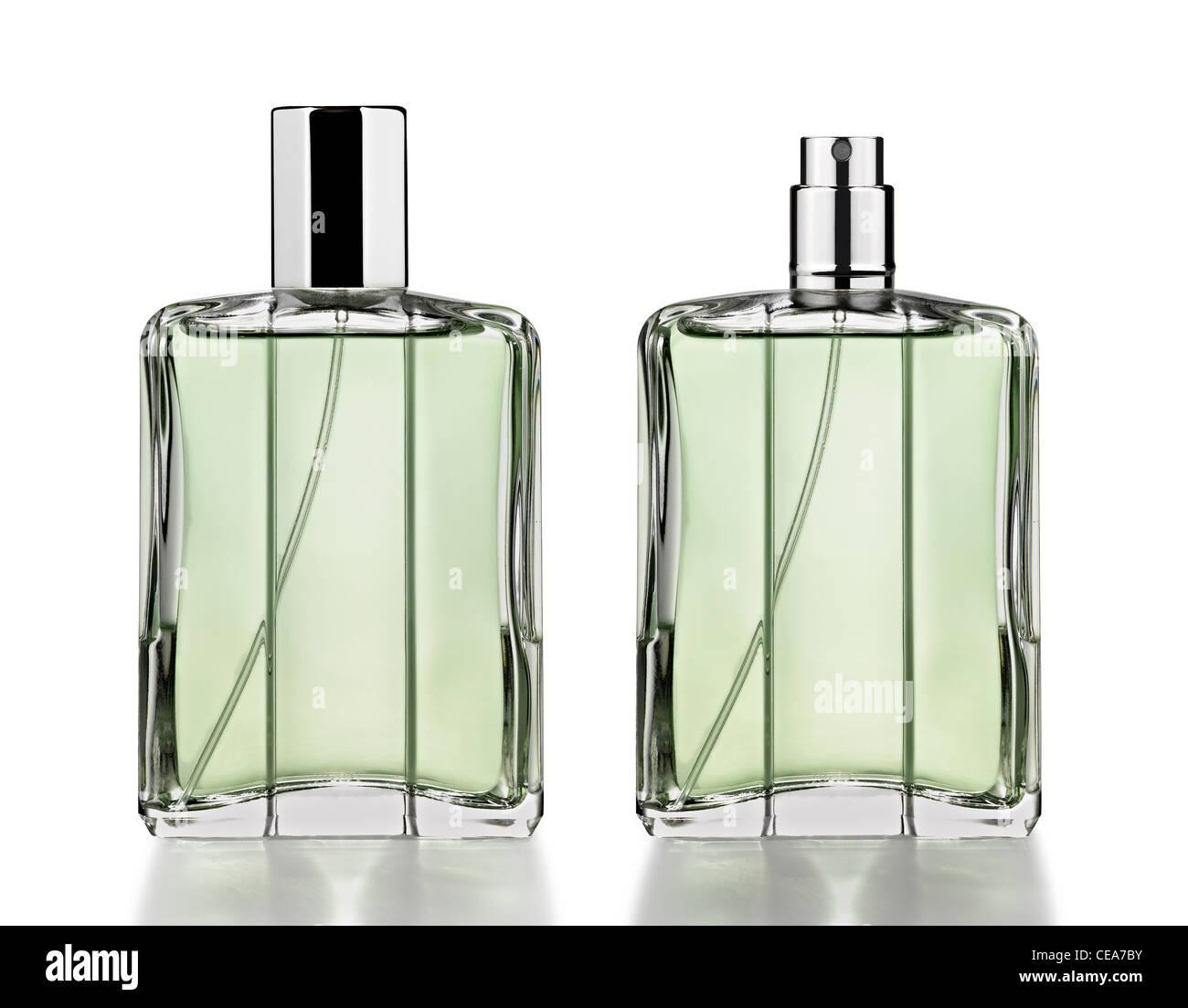 Perfume bottles isolated on white - Stock Image
