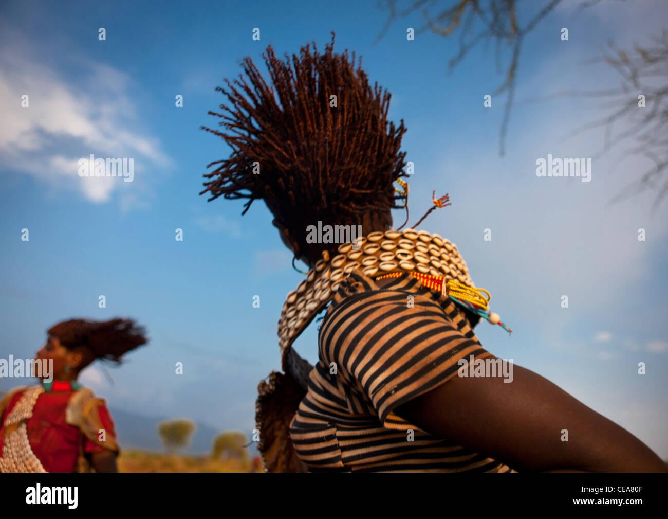 Banna Woman Agitating Her Hair Bull Jumping Ceremony Ethiopia - Stock Image