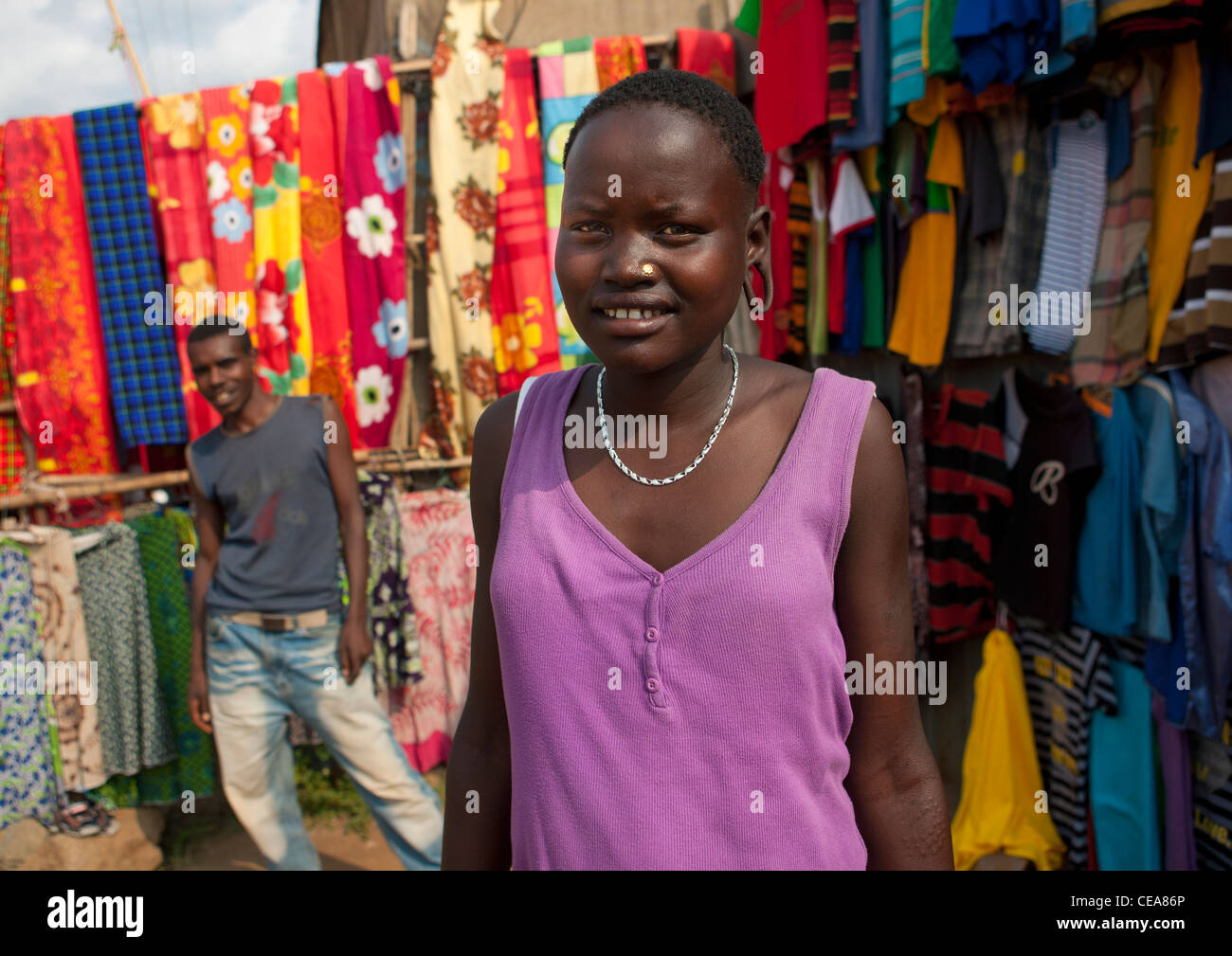 Westerned Mursi Woman At Jinka Market Omo Valley Ethiopia - Stock Image