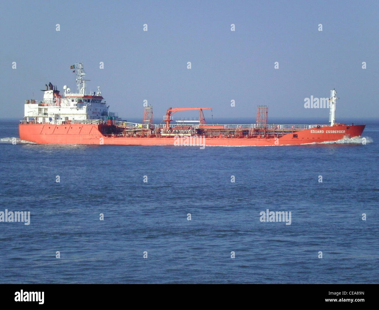 The chemical/oil tanker Eduard Essberger inbound on the River Elbe near Cuxhaven - Stock Image