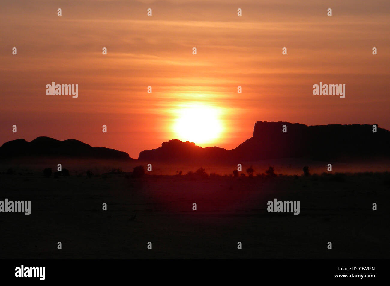 Sunset, Ennedi region, Chad - Stock Image